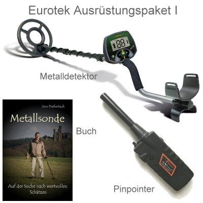 Teknetics Eurotek Metalldetektor Ausrüstungspaket mit Black Huntmate Pinpointer