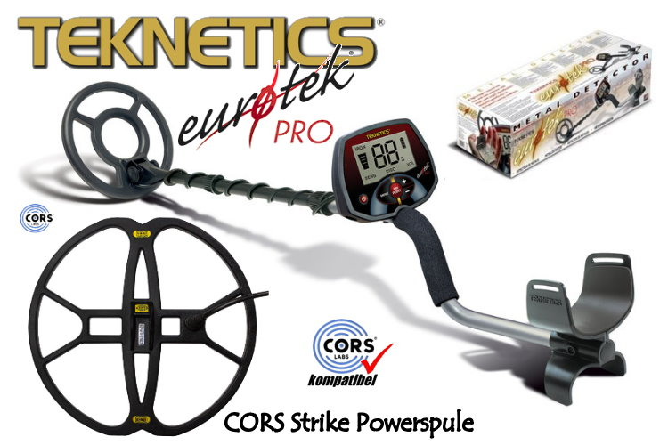 Teknetics Eurotek PRO (LTE) Metalldetektor Ausrüstungspaket mit CORS Strike Hochleistungsspule